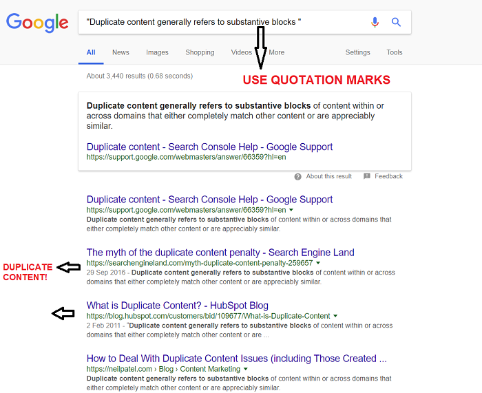 How to find duplicate content